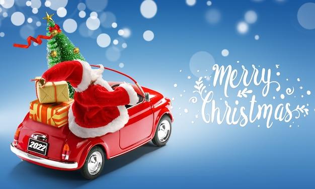 Cartão com texto feliz natal 2022. papai noel em carro vermelho, entregando caixas de presente e árvore de natal em fundo azul.