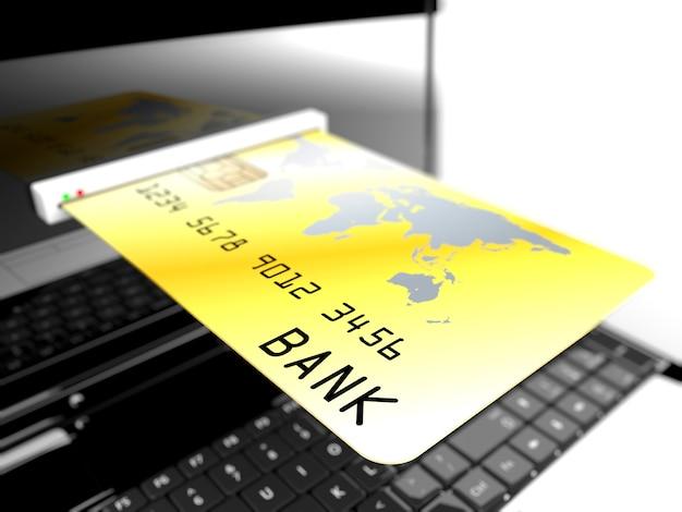 Cartão crédito, em, laptop