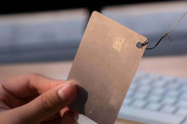 Cartão crédito, ligado, gancho pescando
