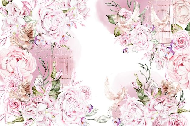 Cartão de casamento em aquarela com flores cor de rosa rosa e pássaro peônia e borboleta