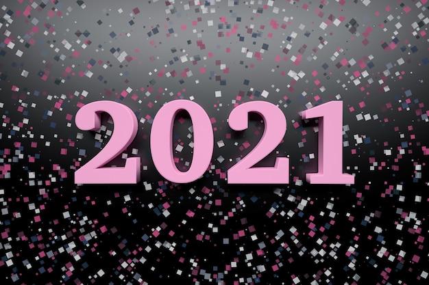 Cartão de comemoração de ano novo com números rosa em negrito do ano 2021 em superfície escura com confetes brilhantes aleatórios