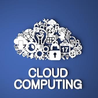 Cartão de computação em nuvem feito à mão de caracteres de papel em fundo azul