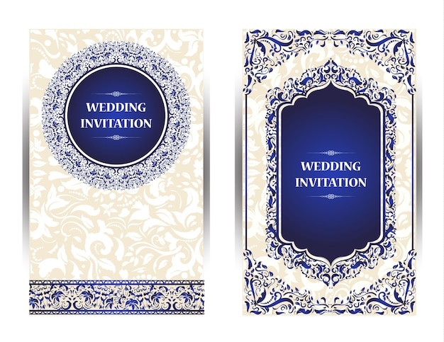 Cartão de convite design vintage com padrão de mandala em roxo