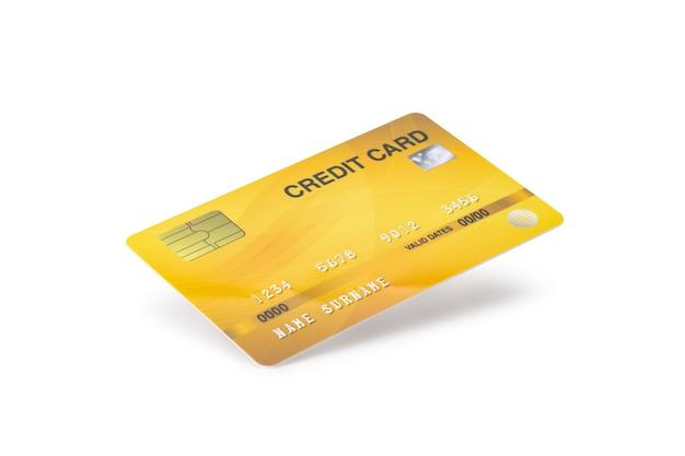 Cartão de crédito amarelo isolado no fundo branco com trajeto de grampeamento.