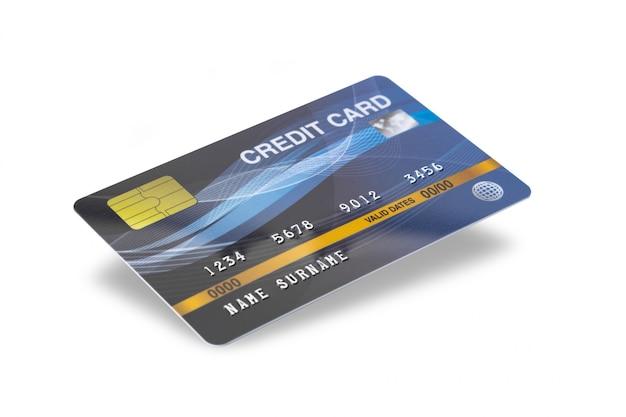 Cartão de crédito azul isolado no fundo branco com trajeto de grampeamento.