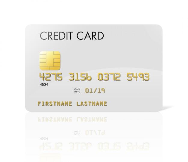 Cartão de crédito branco isolado no branco com traçado de recorte