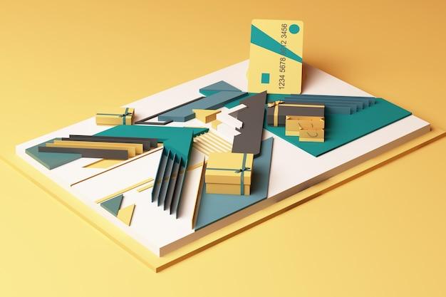 Cartão de crédito com composição abstrata do conceito de caixa de presente de plataformas de formas geométricas em tom amarelo e verde. renderização 3d