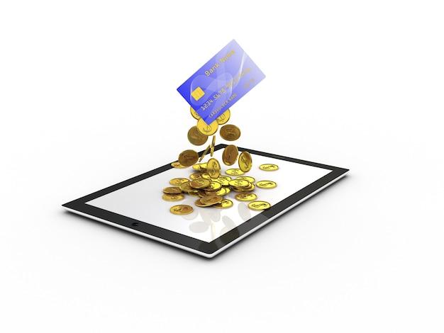 Cartão de crédito com moedas de ouro caindo na tela do tablet