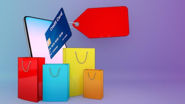 Cartão de crédito de ejetado de um telefone celular e muitas sacolas de compras.