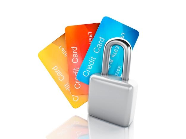 Cartão de crédito e lock.safe bancário conceito sobre fundo branco