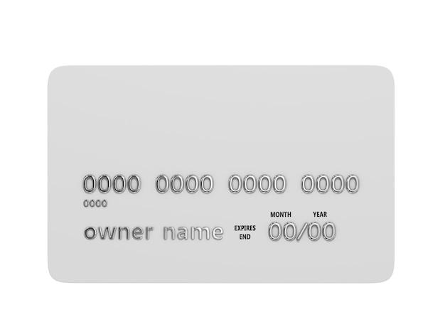 Cartão de crédito em branco com números cromados isolados na ilustração 3d branca