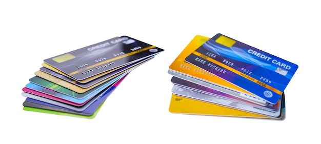 Cartão de crédito em fundo branco, desenvolvimento financeiro, contabilidade, estatísticas, escritório de economia de dados de pesquisa analítica de investimento conceito de banco de empresa de negócios.