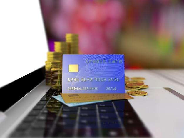 Cartão de crédito em um laptop.
