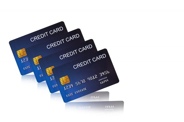 Cartão de crédito no fundo branco e-shopping marketing