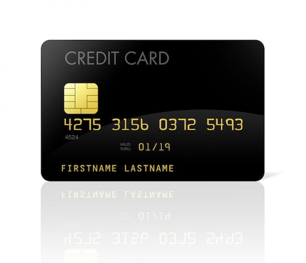 Cartão de crédito preto isolado no branco com traçado de recorte