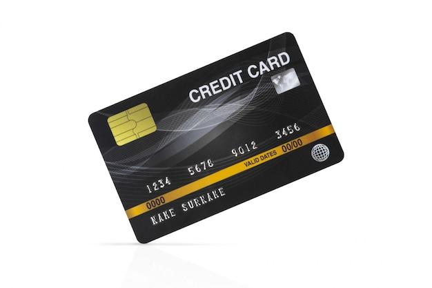 Cartão de crédito preto isolado no fundo branco com trajeto de grampeamento.