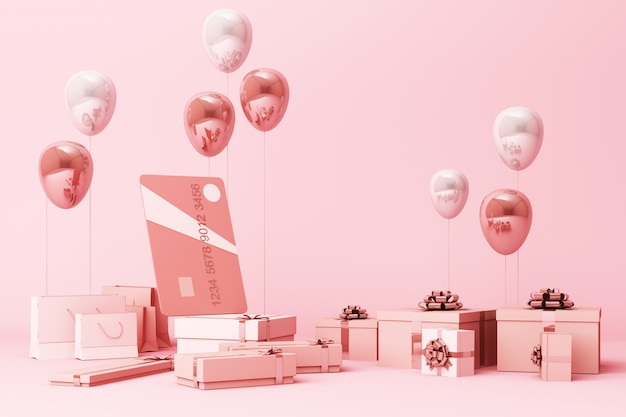 Cartão de crédito rosa em torno de um monte de giftboxs e balões de renderização em 3d