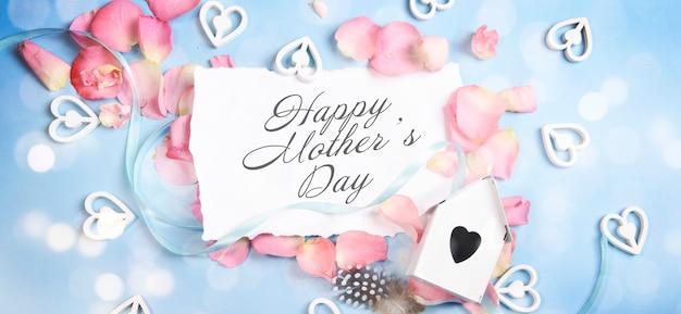 Cartão de dia das mães com flores em flor
