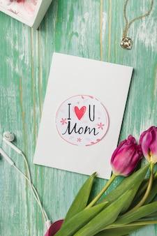 Cartão de dia das mães com fones de ouvido