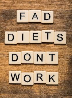 Cartão de dietas da moda não funcionam