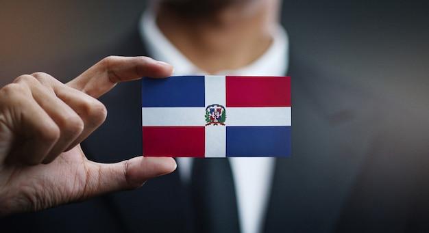 Cartão de exploração do empresário da bandeira da república dominicana