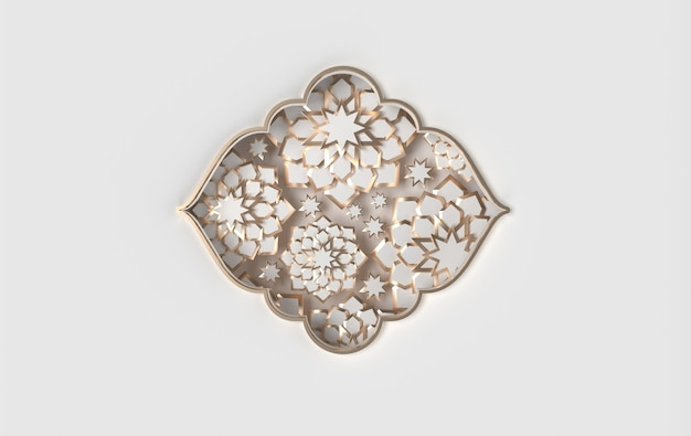 Cartão de felicitações com gráfico de papel árabe intrincado de arte geométrica islâmica estrelas da janela de renderização em 3d