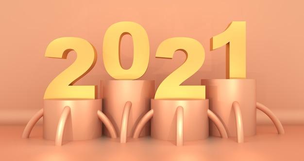 Cartão de feliz ano 2021 com design abstrato