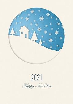 Cartão de feliz ano novo de inverno vintage com uma casa sob os flocos de neve. 2021