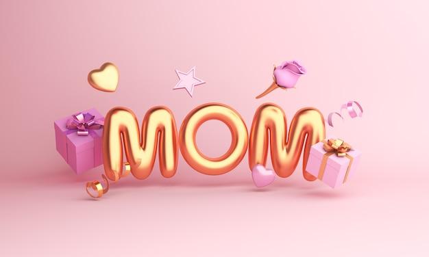 Cartão de feliz dia das mães com balão e caixa de presente