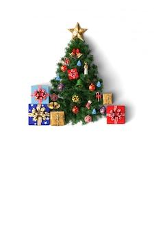 Cartão de feliz natal chirstmas de árvore e decoração