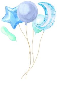 Cartão de festa em aquarela com balões brilhantes