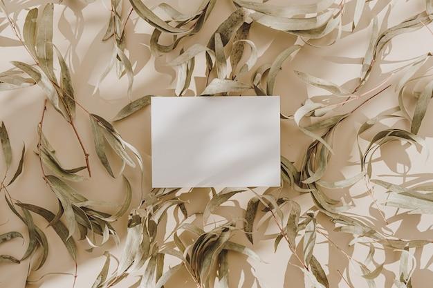 Cartão de folha de papel em branco com espaço de cópia e folhas verdes secas com sombra de luz solar em bege
