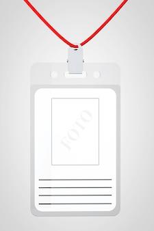 Cartão de identificação com lugar para foto e texto em fundo branco