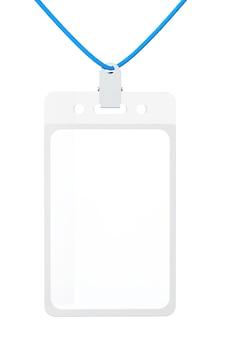 Cartão de identificação em branco sobre fundo branco