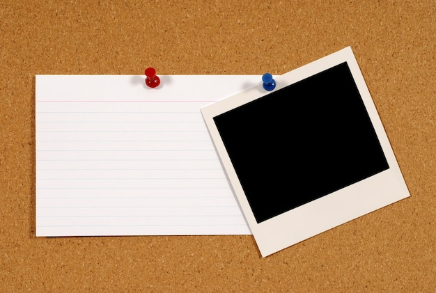 Cartão de índice com polaroid foto