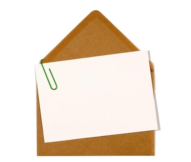 Cartão de letra com envelope marrom