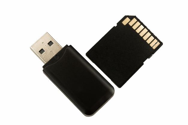 Cartão de memória sd e memória flash usb