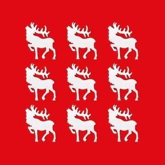 Cartão de natal com veado branco feito à mão, conceito de férias de inverno.