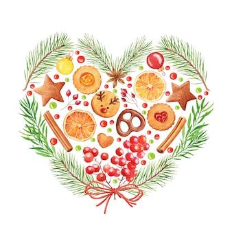 Cartão de natal em aquarela. coração feito de doces, ramos de pinheiro e frutas