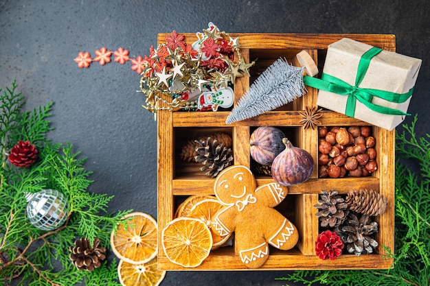 Cartão de natal pão de mel ano novo pastelaria caseira doce sobremesa comida fundo rústico
