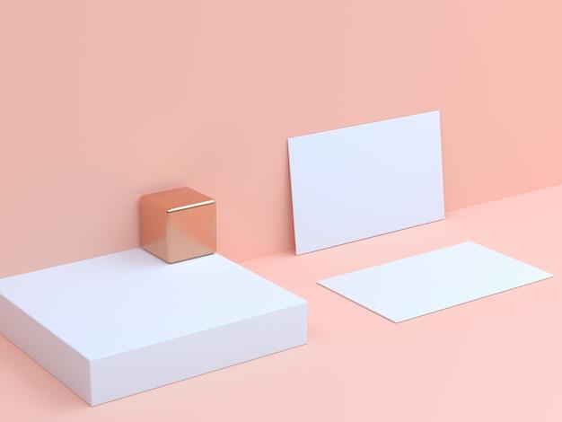 Cartão de papel branco de renderização 3d definir fundo creme