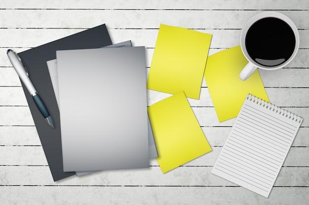 Cartão de papel de vista superior na maquete de mesa de escritório.