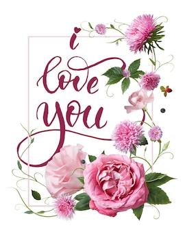 Cartão de presente com slogan eu te amo sobre branco. cartão do dia dos namorados decorado com flores e rosas cor de rosa. conceito dos namorados.