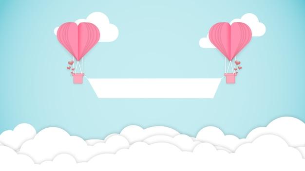 Cartão de são valentim. balões de ar em forma de coração no topo das nuvens com o banner. copyspace. arte moderna, papel de parede. folheto para o seu dispositivo, design ou anúncio. romântico, conceito de amor.