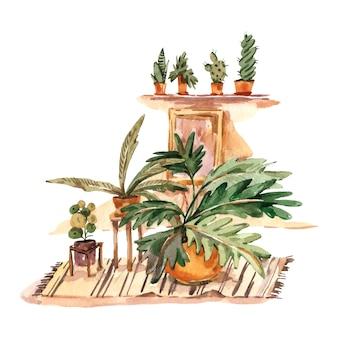 Cartão de saudação de decoração em casa boho aquarela