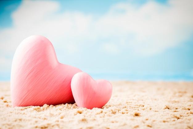 Cartão de saudação recém-casado. mar, composição de corações.