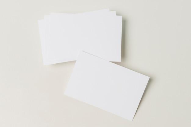 Cartão de visita em branco vista superior
