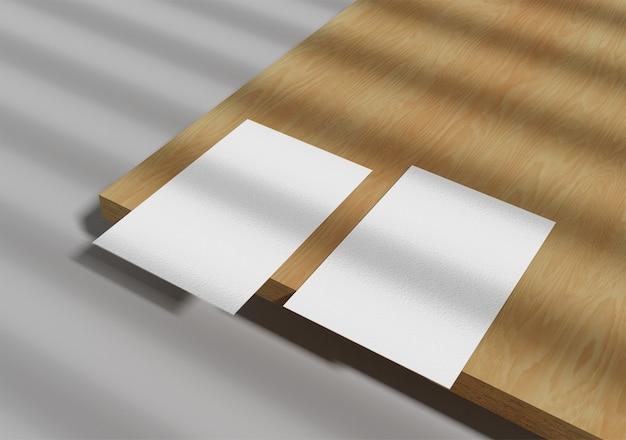 Cartão de visita em madeira com sombra