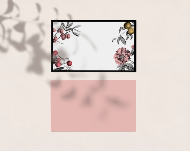 Cartão de visita floral estilo vintage flay lay com espaço de design