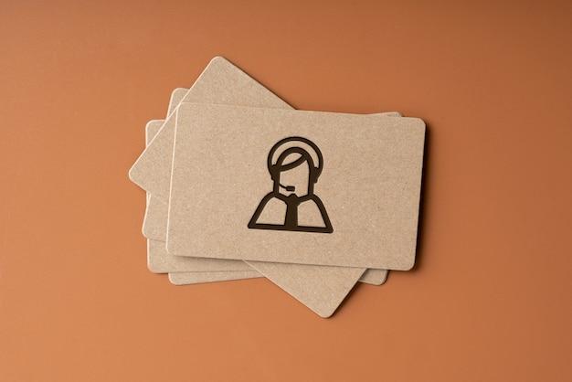 Cartão de visita simples para o ícone fale conosco para o conceito de negócio global